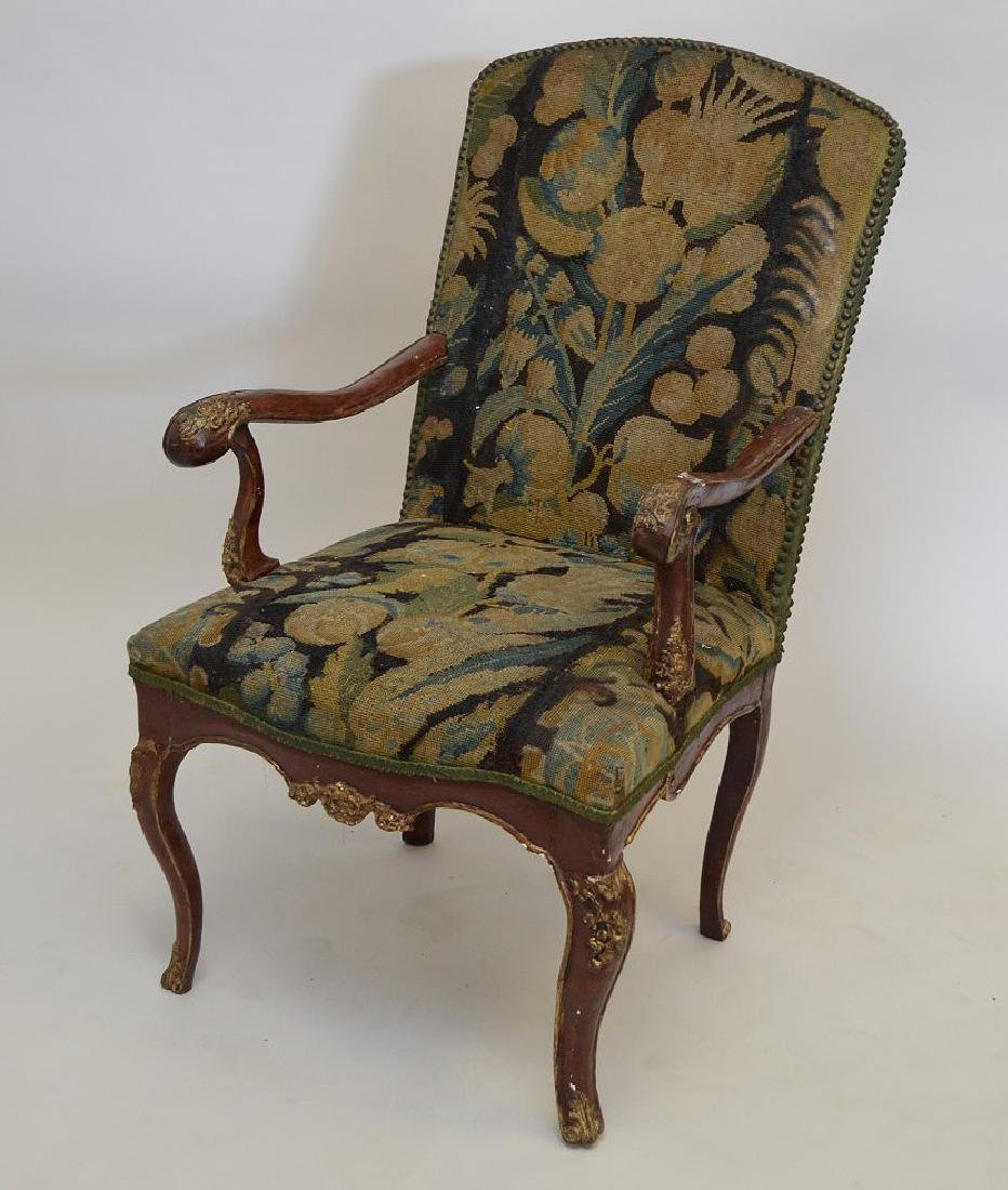 "Italian 18th c.  Tapestry chair, 41""h x 23""w"