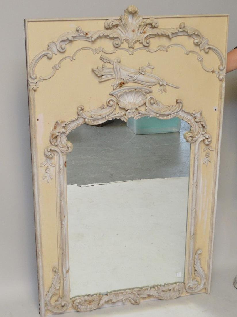 "Decorative French style wall mirror, 62""h x 38""w"
