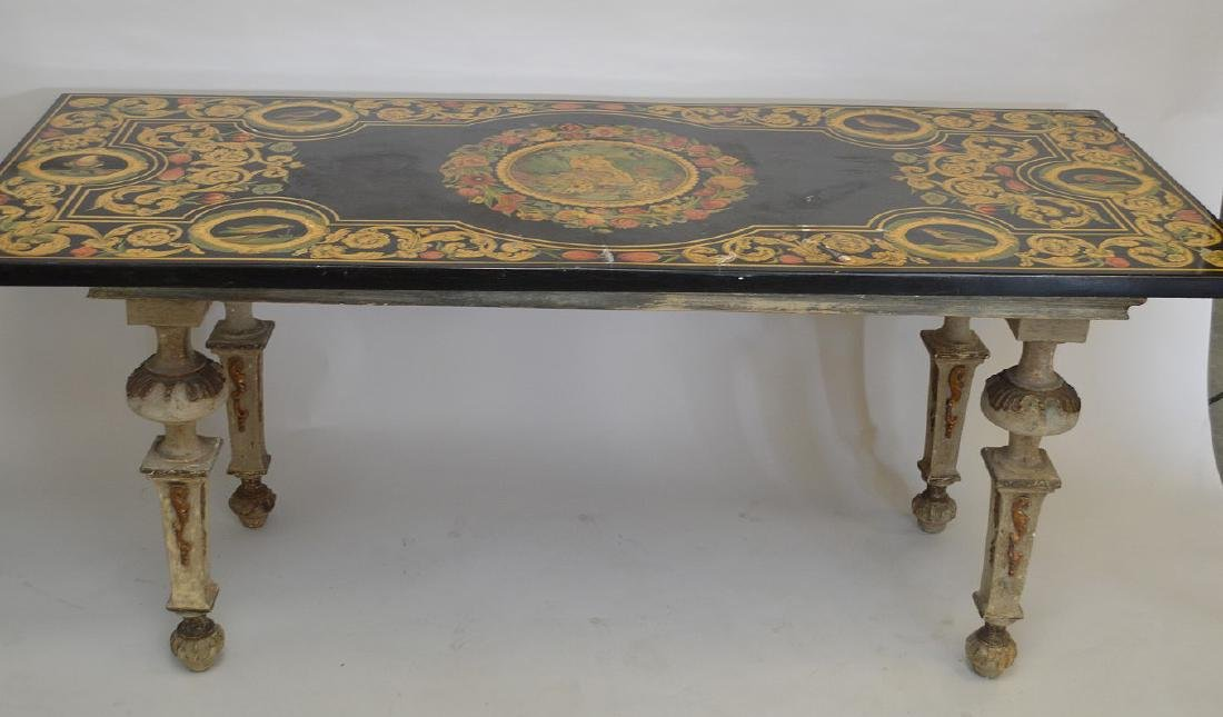 Paneled slate top table on 18th c. carved  tapered