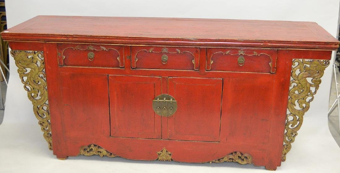 """Red painted Asian console, 36""""h x 81""""w x 21 1/2""""d"""