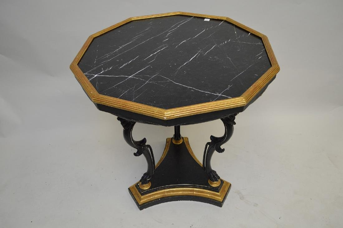 Occasional table with black marble octagonal top on 3 - 2
