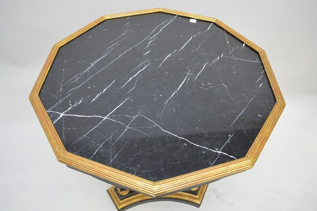 Occasional table with black marble octagonal top on 3 - 3