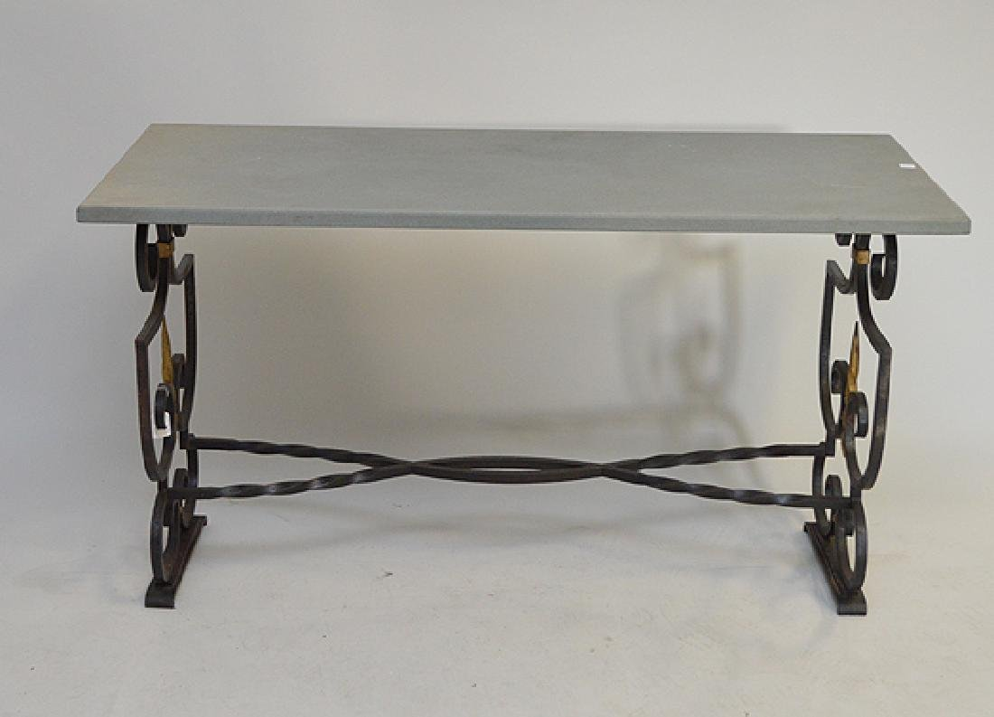 "Steel base table with stone top, 30""h x 54""w x 23 1/2""d"
