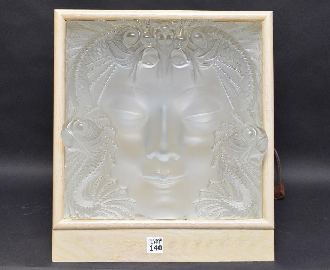 "Lalique crystal ""La Femme"" mask with custom light"