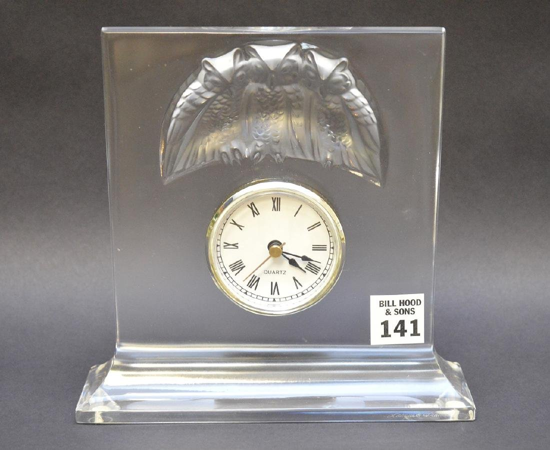 "Lalique crystal clock ""Owls"", signed Lalique France, 7"