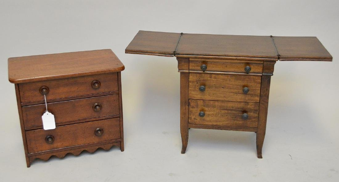 "2 Salesman sample chests (one with dropleaf), 15 1/2""h"