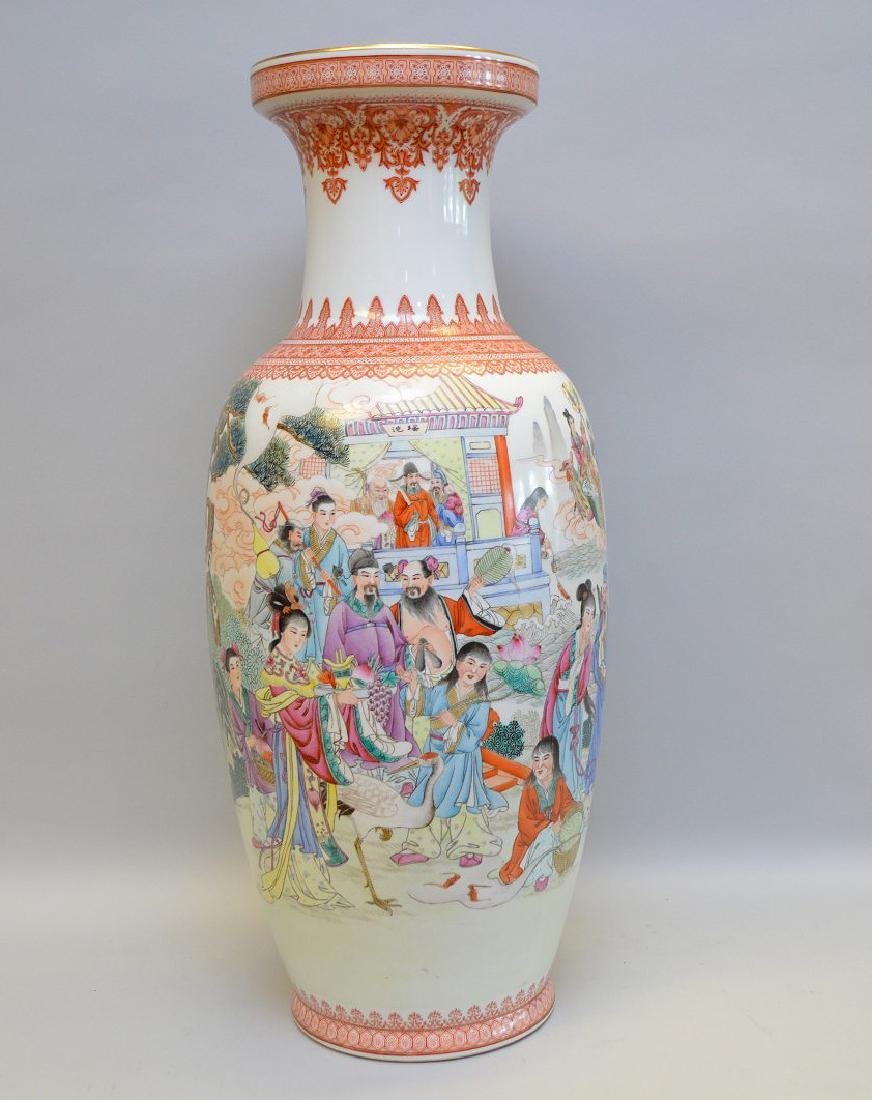 Large Chinese porcelain vase with continuous figures in
