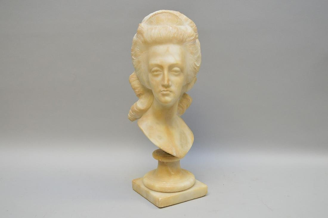 "Alabaster bust of a maiden, 14 1/2""h (good condition,"