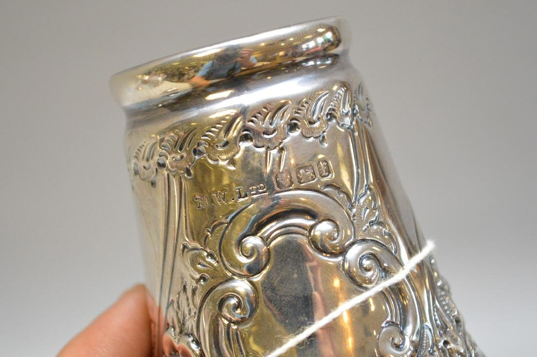 "English sterling muffineer, 10""h - 4"
