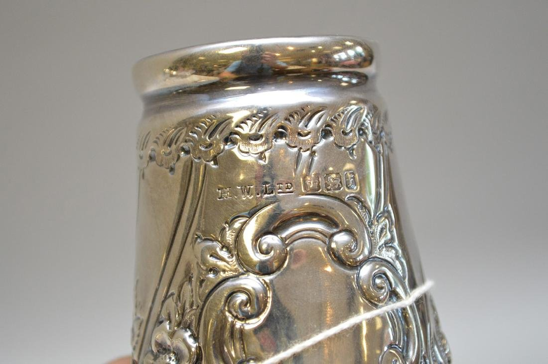 "English sterling muffineer, 10""h - 5"