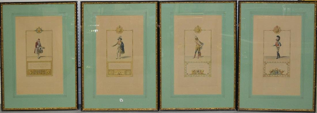 4 French Officers, colored plates, numbered, 4""