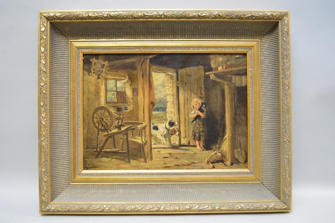 John Emms (BRITISH, 1843-1912) oil on canvas, Interior