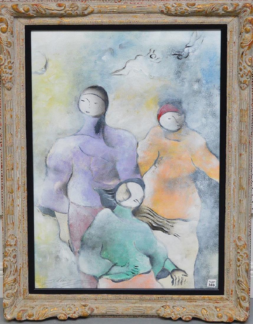 David Schluss  (Israel born 1943) Watercolor/Gouache on
