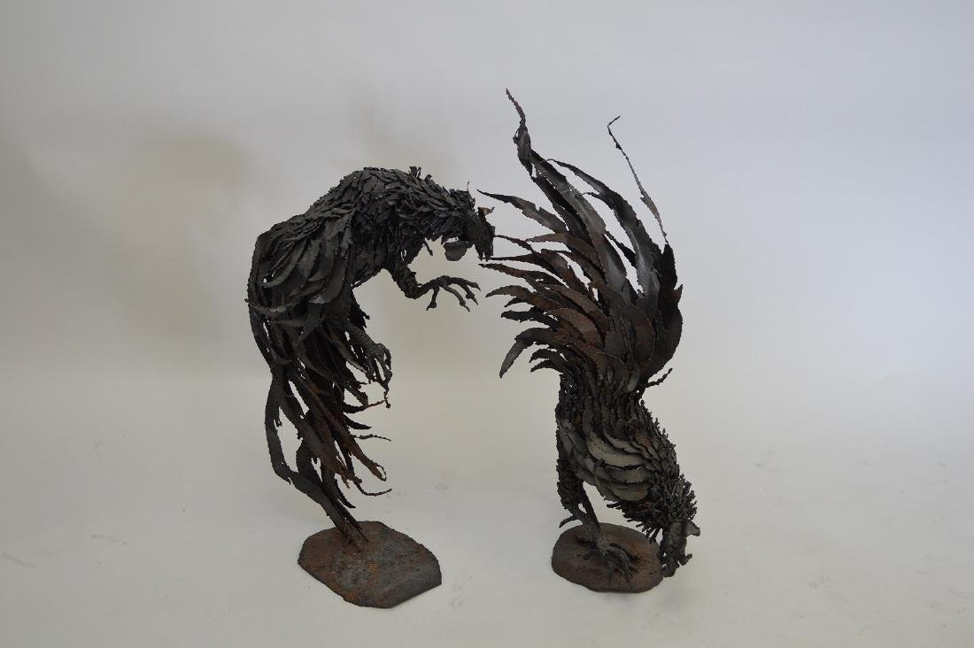 "Pair metal Brutalist Rooster sculptures, 27""h"