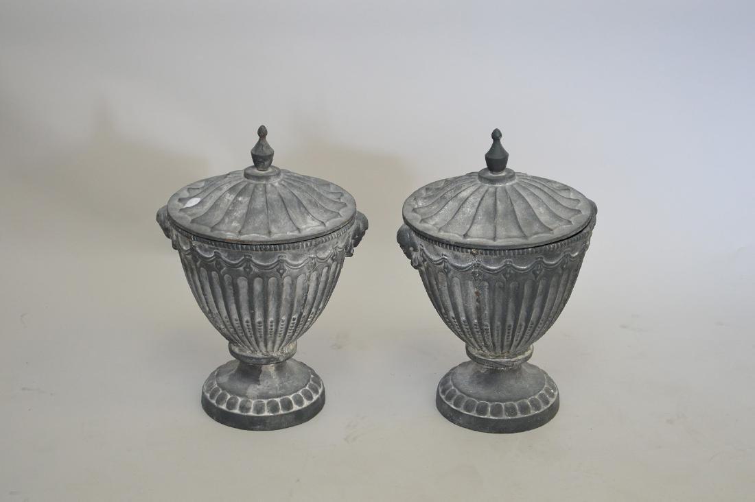 "Garden urns with lids, 20""h"