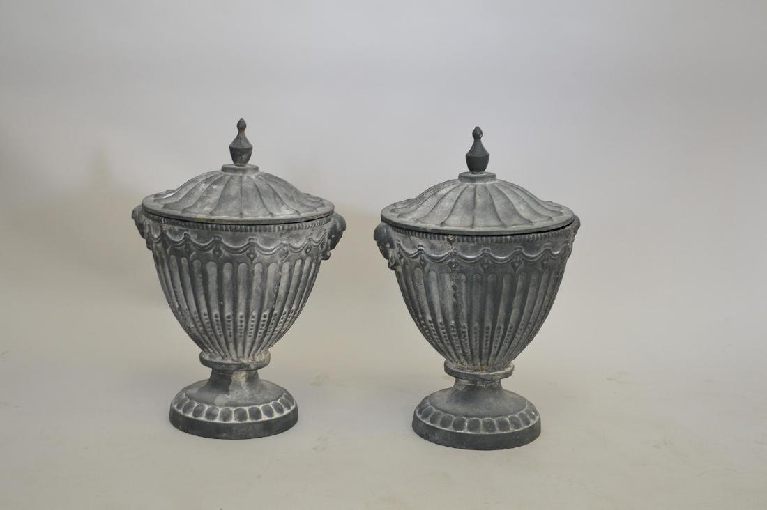 "Garden urns with lids, 20""h - 2"