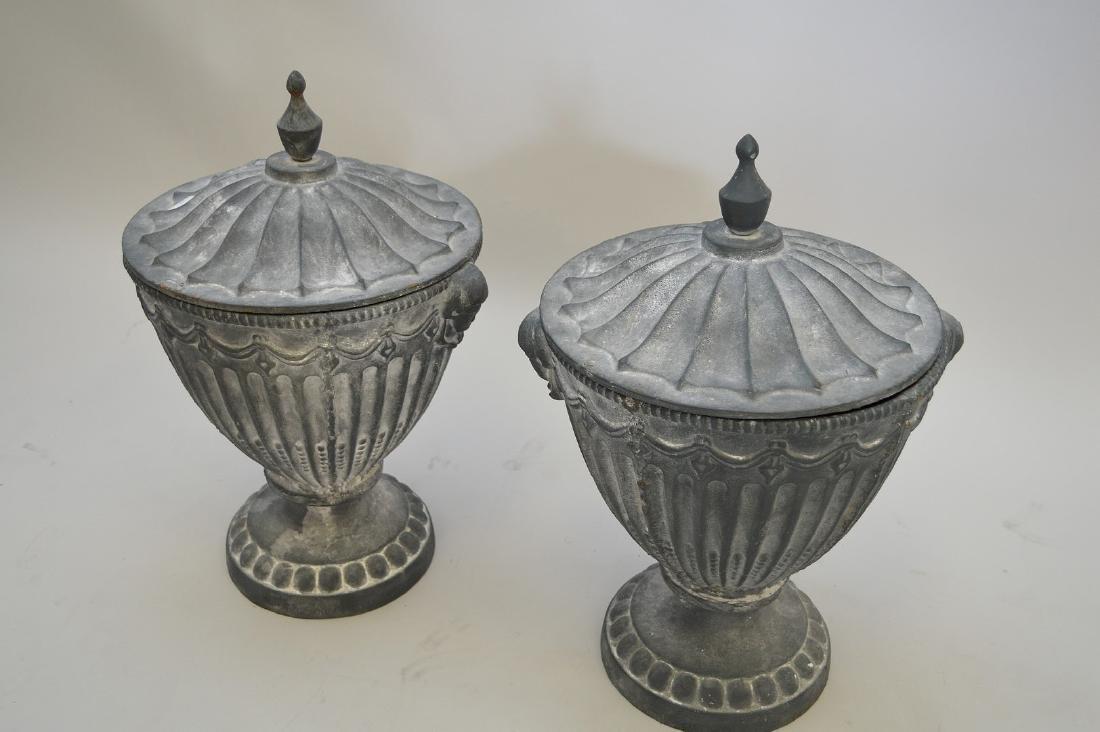 "Garden urns with lids, 20""h - 3"
