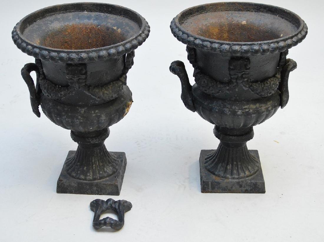 """Victorian iron urns, 17 1/2""""h x 12""""w (one broken handle"""