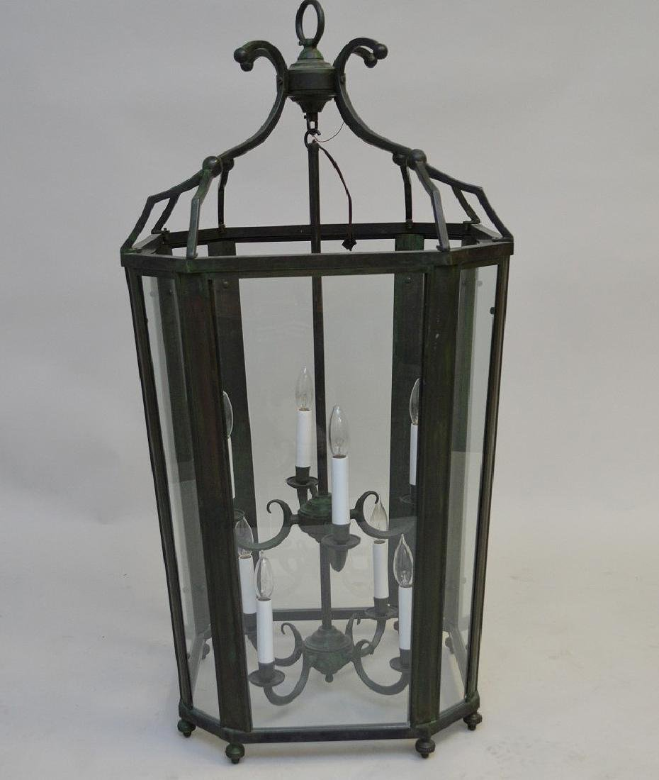 Oversized electrified 8 light lantern with verdigris