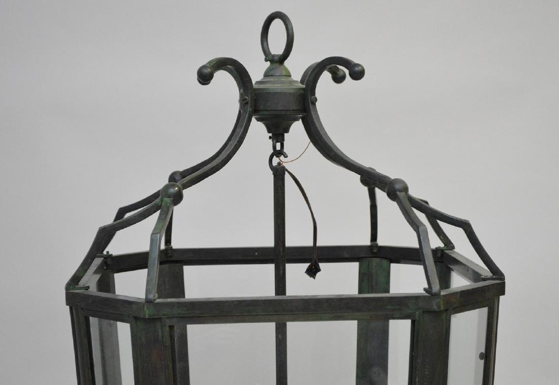 Oversized electrified 8 light lantern with verdigris - 2