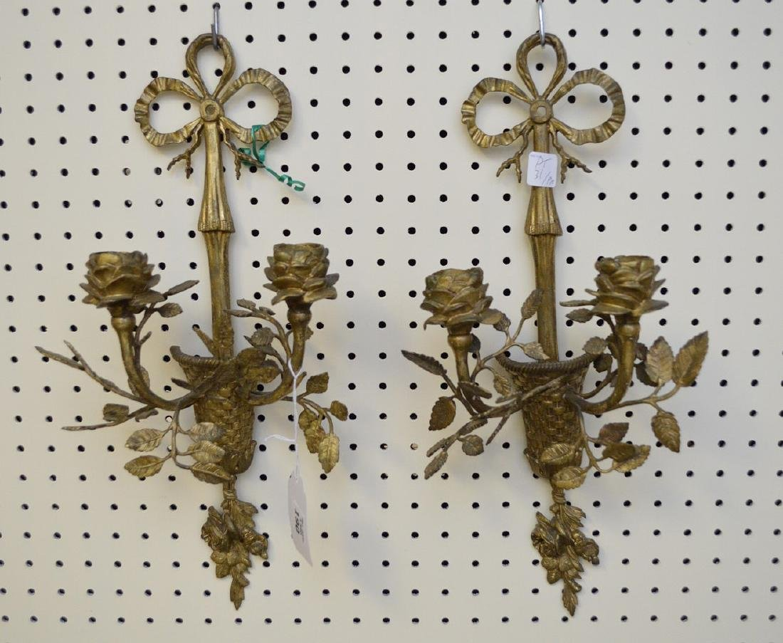 Pair gilt metal floral motif double branch wall