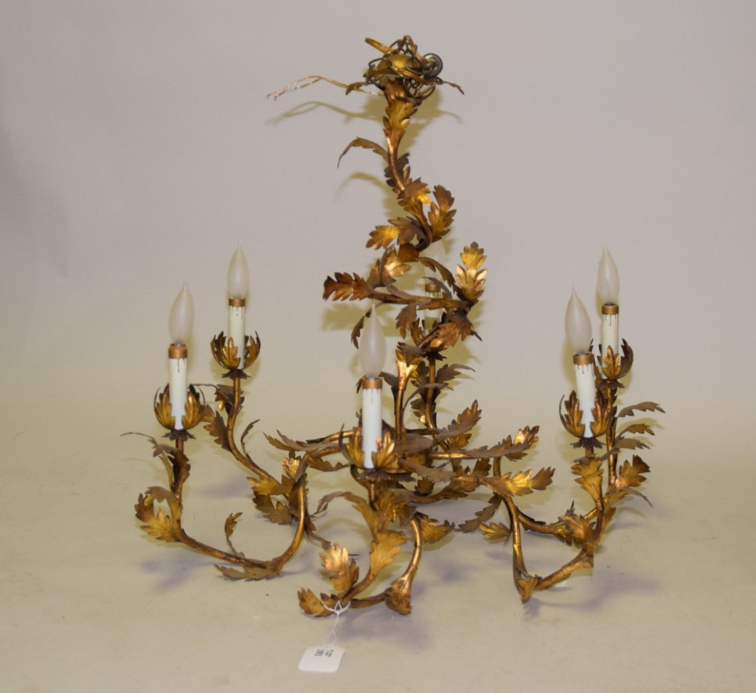 "Leaf motif gilt metal 6 branch chandelier, 28""h x 27""w"