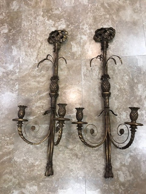 "Double branch wood and floral metal wall sconces, 41""h"