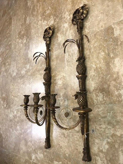 "Double branch wood and floral metal wall sconces, 41""h - 2"