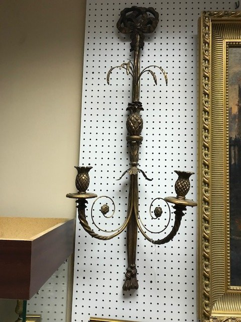"Double branch wood and floral metal wall sconces, 41""h - 3"