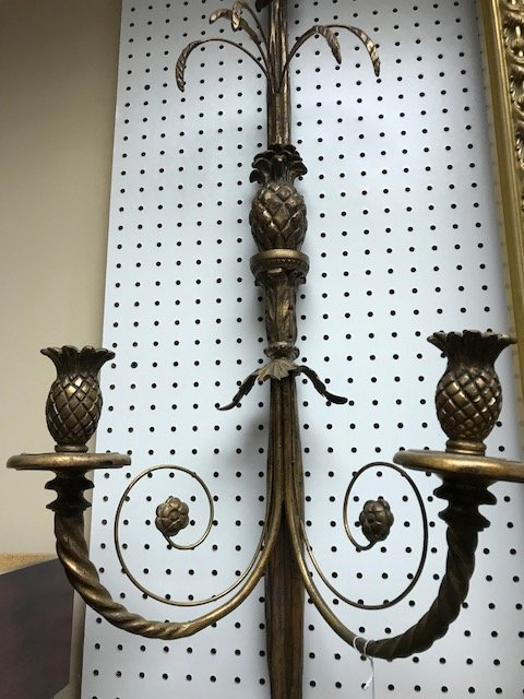 "Double branch wood and floral metal wall sconces, 41""h - 4"