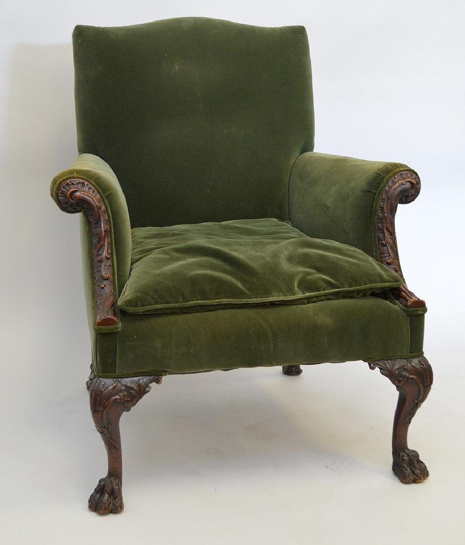 Georgian carved Chair, green uphustery