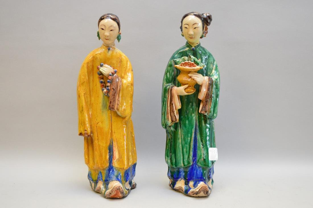 Pair of Antique Chinese Export Statues. Sizes; 14 1/2""