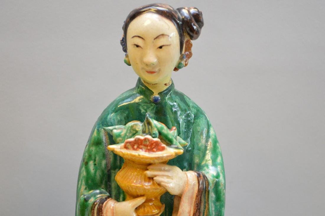 """Pair of Antique Chinese Export Statues. Sizes; 14 1/2"""" - 2"""