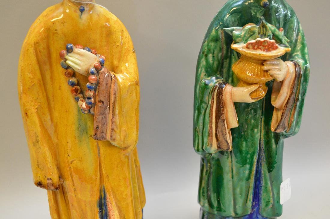 """Pair of Antique Chinese Export Statues. Sizes; 14 1/2"""" - 3"""