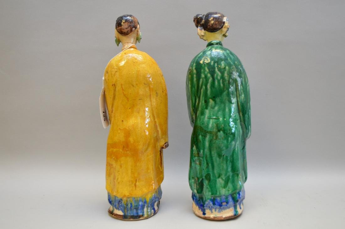 """Pair of Antique Chinese Export Statues. Sizes; 14 1/2"""" - 4"""