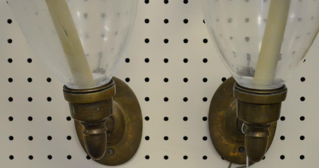 Pair brass wall sconces with hurricane shades, approx. - 2