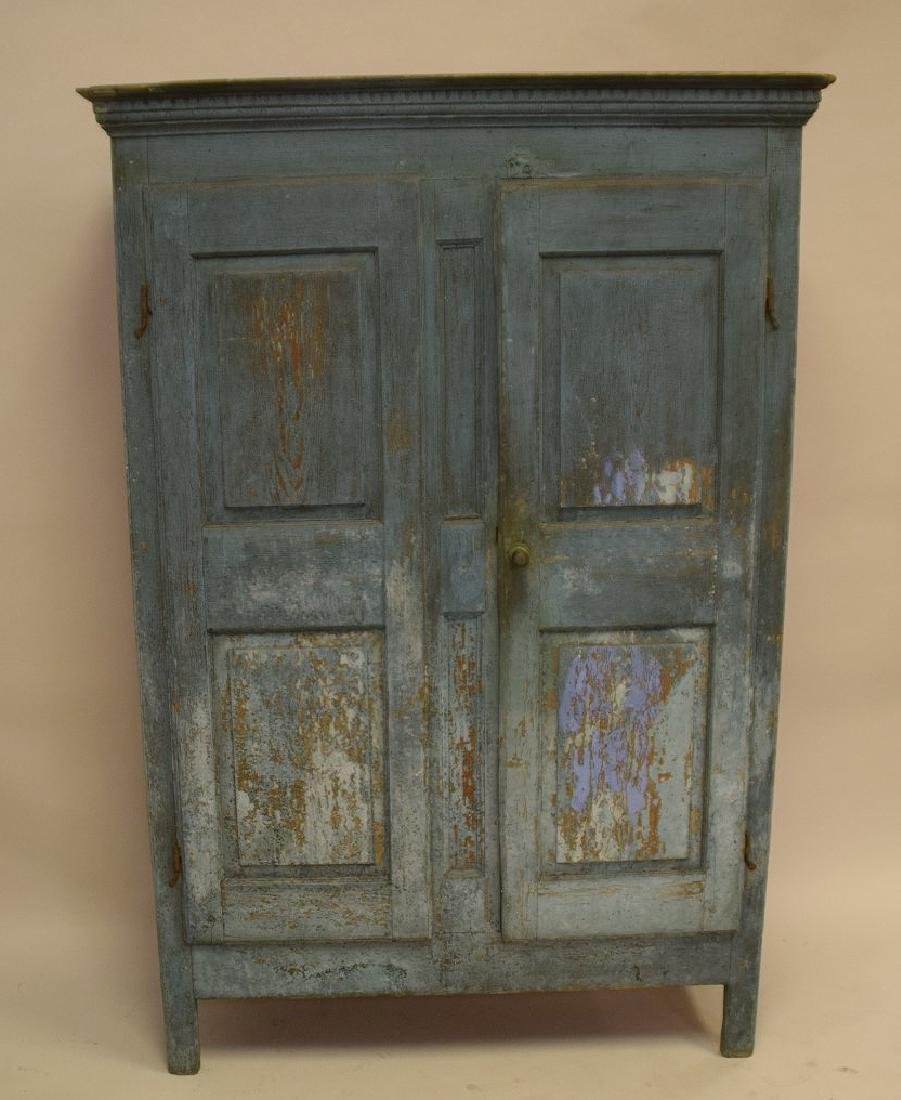 19th c. painted, dry, blue Primitive cupboard with