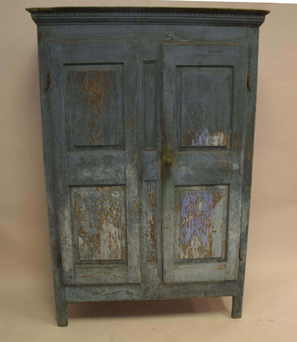 19th c. painted, dry, blue Primitive cupboard with - 2