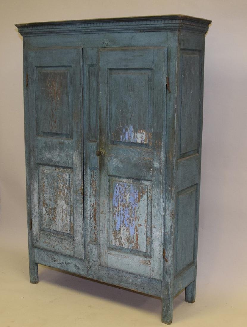 19th c. painted, dry, blue Primitive cupboard with - 4