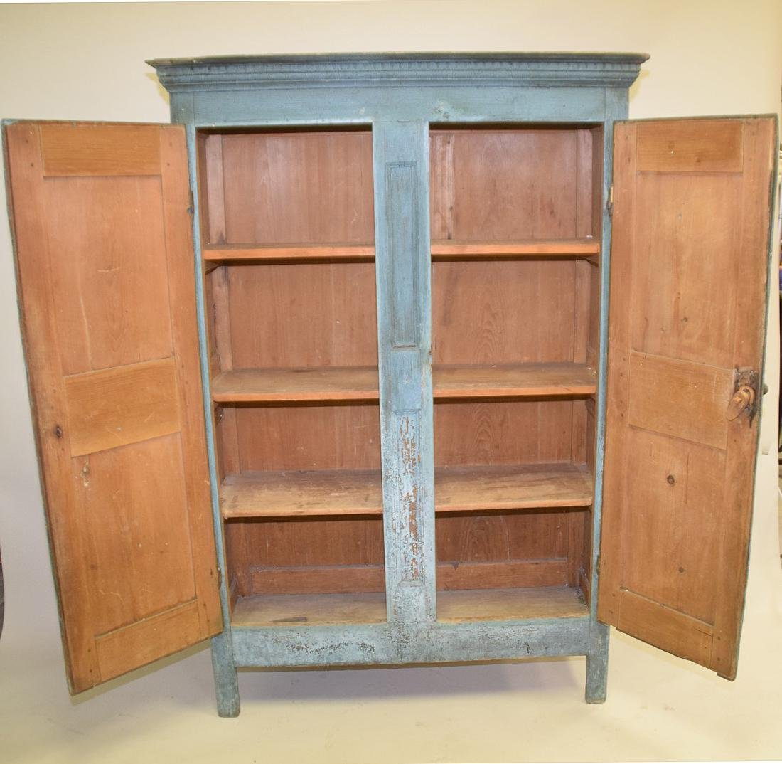 19th c. painted, dry, blue Primitive cupboard with - 5
