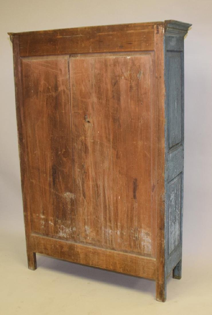 19th c. painted, dry, blue Primitive cupboard with - 6