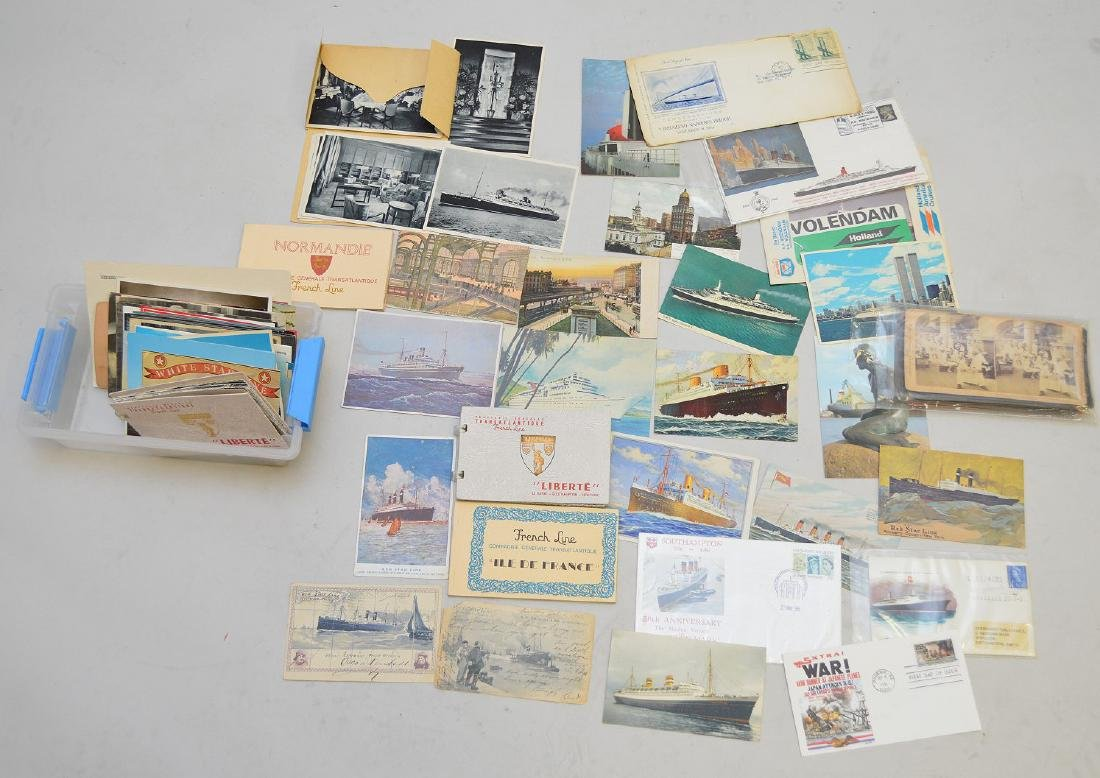 Collection of vintage postcards, ocean liners