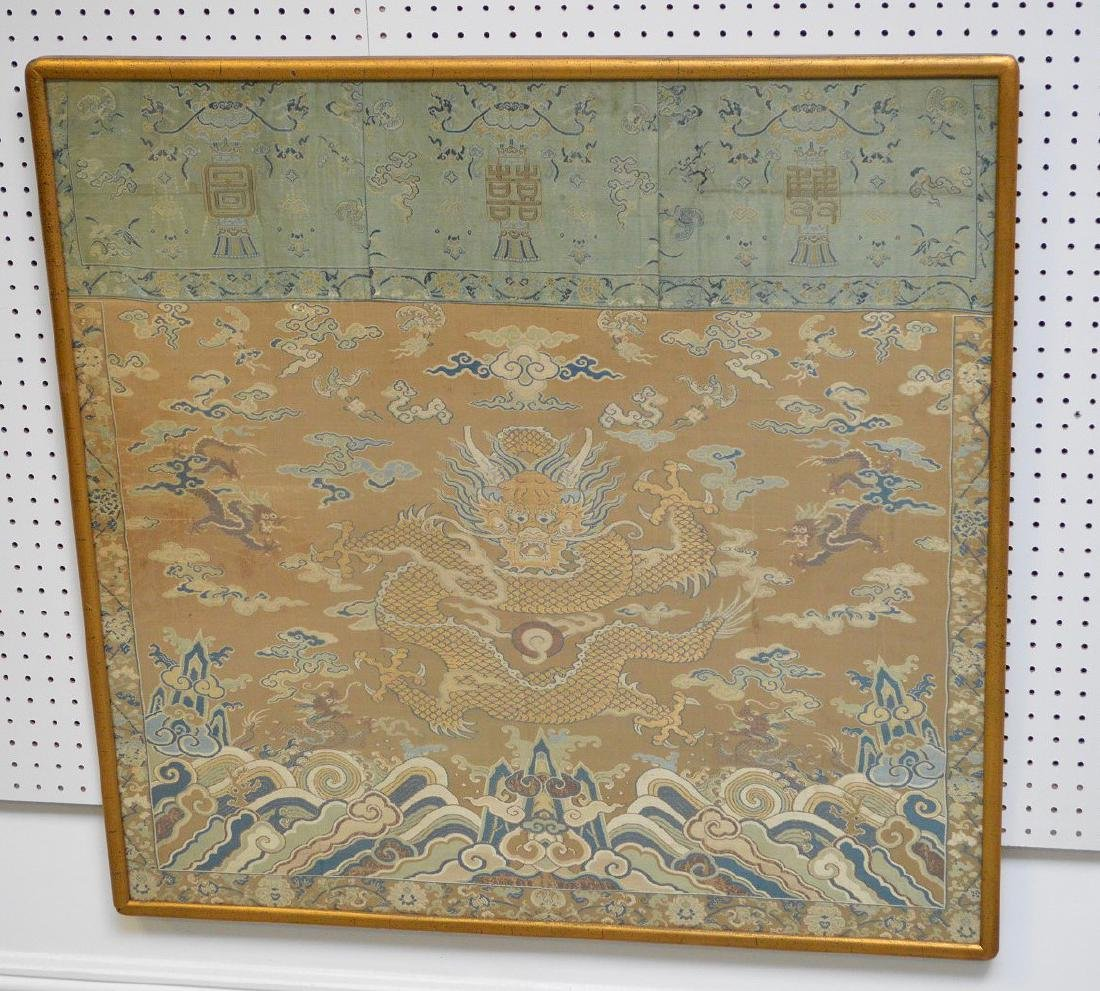 "Framed Embroidered Chinese dragon panel, 36""h x 38""w"