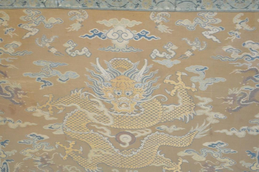 """Framed Embroidered Chinese dragon panel, 36""""h x 38""""w - 2"""