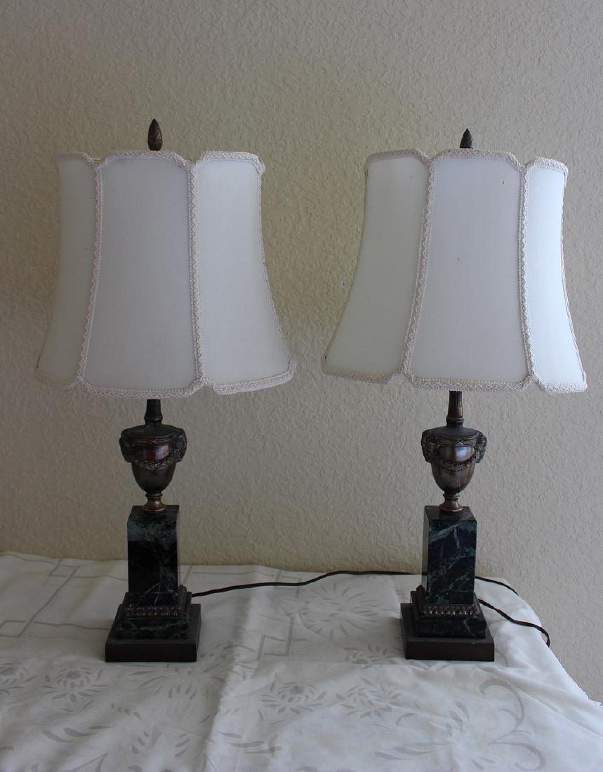 "Bronze lamps on marble bases, 26 1/2""h"