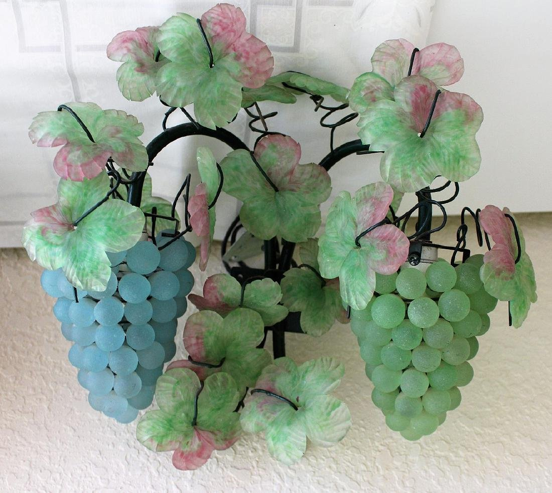 Colored glass wall sconces, floral and fruit motif - 2