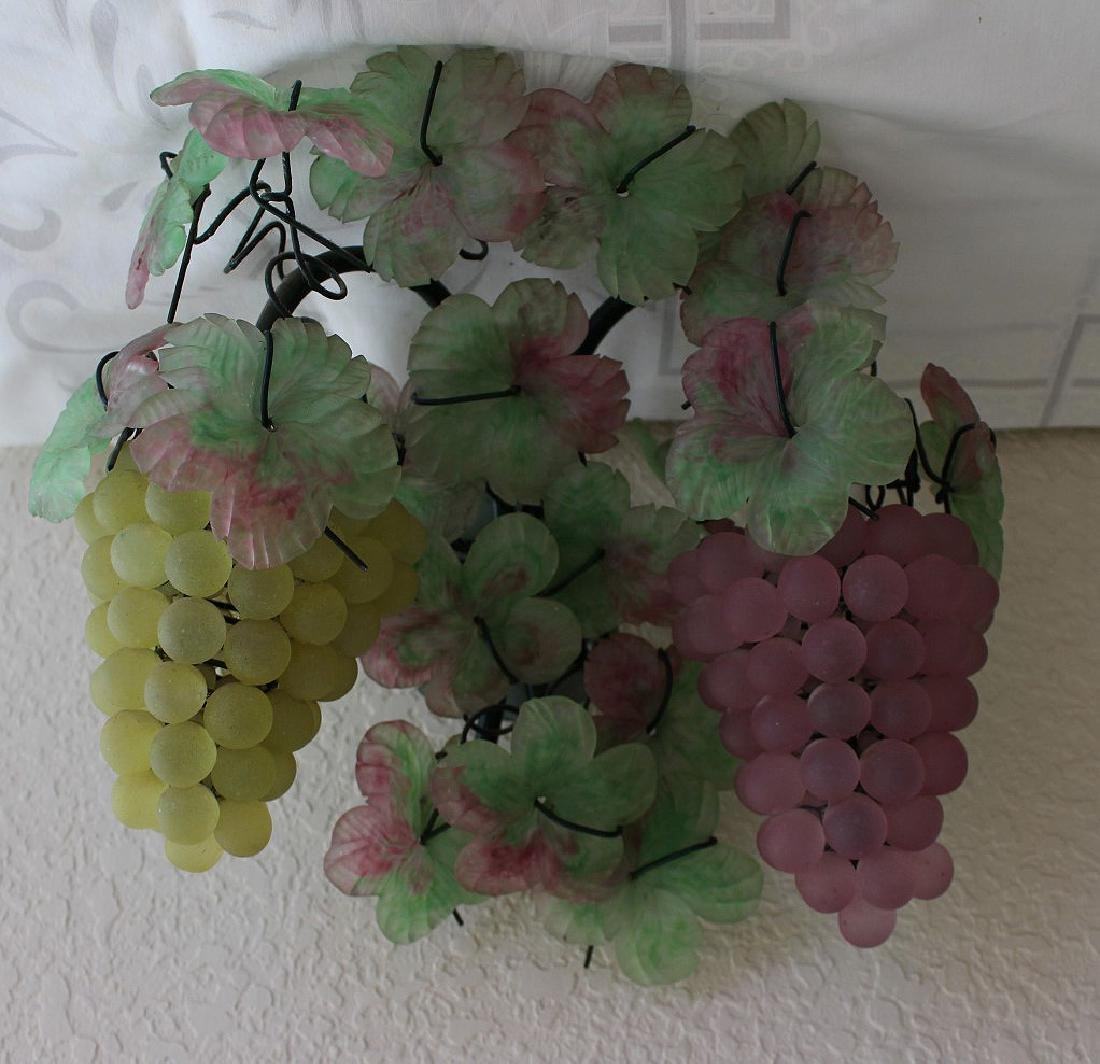 Colored glass wall sconces, floral and fruit motif - 3