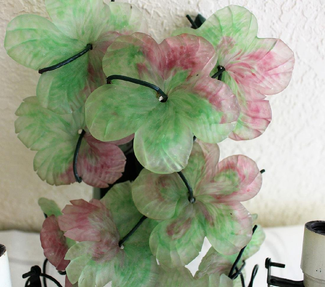 Colored glass wall sconces, floral and fruit motif - 6
