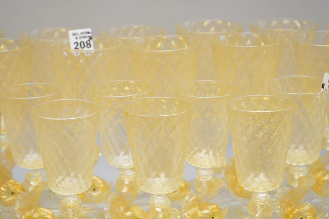 "13 Venetian wine glasses (7""h) and 15 Venetian wine - 3"