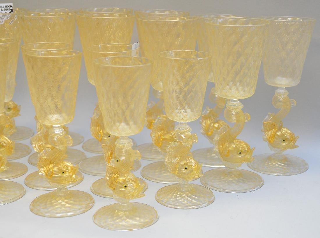 "13 Venetian wine glasses (7""h) and 15 Venetian wine - 4"